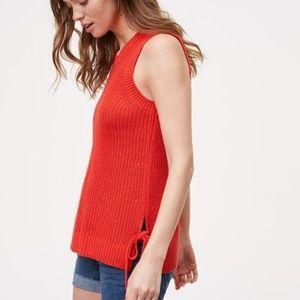 Ann Taylor LOFT Small Red Side Tie Sweater Tank